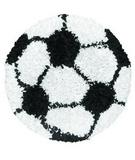 RugStudio presents The Rug Market America Kids Shaggy Raggy Soccer Ball 02253 Black/white Area Rug